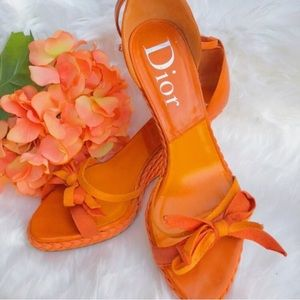 Dior Espadrille Braid Bow Sandal Peep Toe Wedges